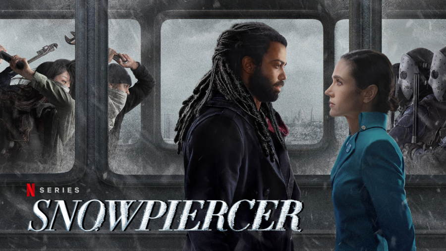 Snowpiercer Season 2 banner, a man and a woman face each other on a train